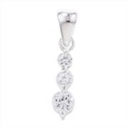 Sterling Silver small Cubic Zirconia three stone drop pendant 0.82g